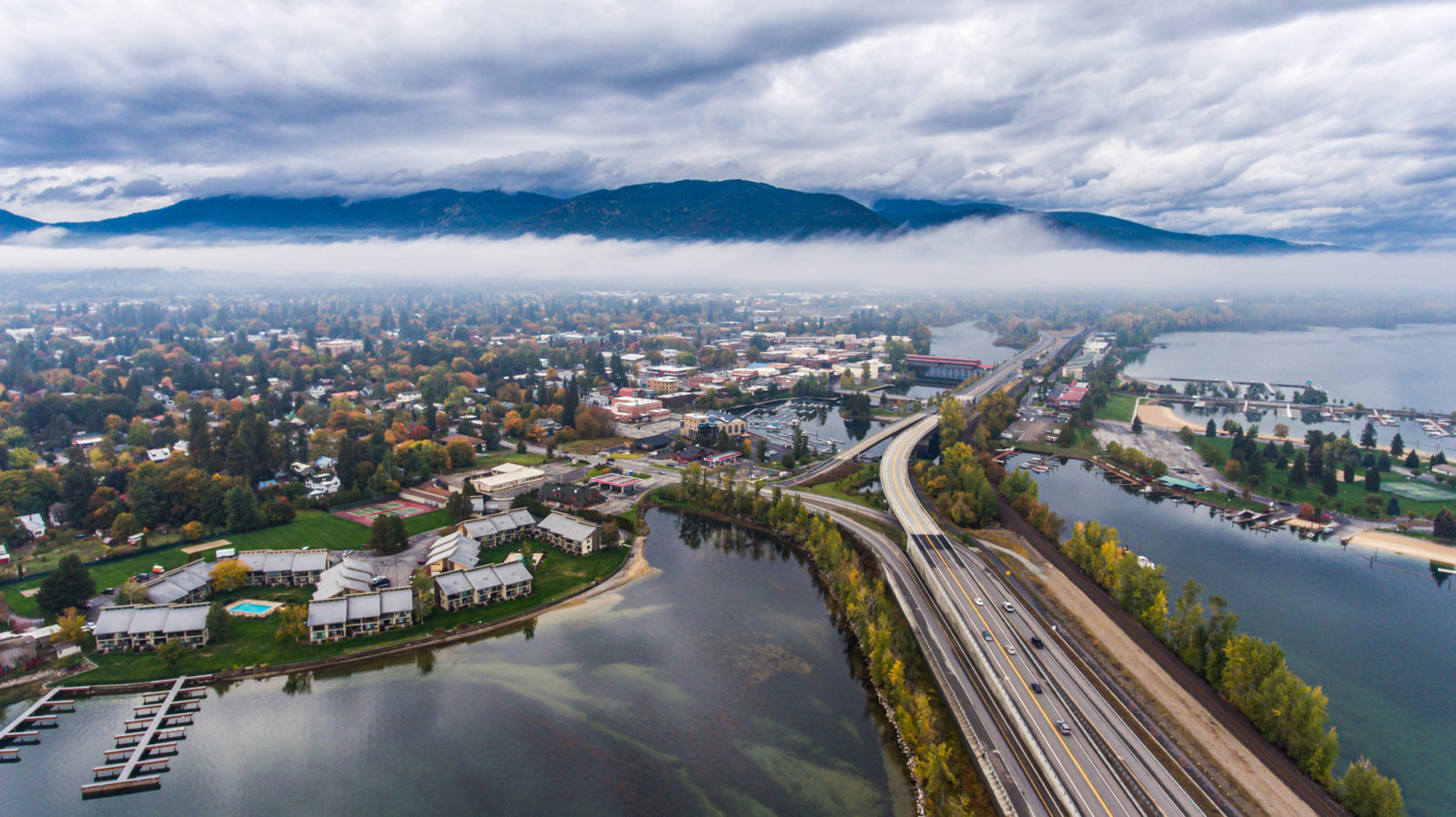 Sandpoint Under the Clouds - Drone